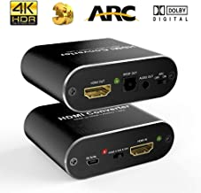 AuviPal 4K HDMI Audio Extractor with Cables, HDMI to HDMI with Audio (Optical Toslink SPDIF + 3.5mm AUX Stereo) Out Splitter Adapter Support 4K@60Hz 1080P 3D - Black