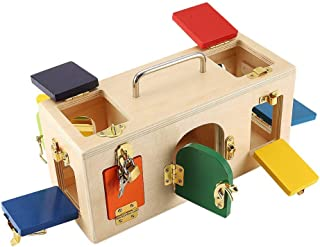 TOOGOO Colorful Lock Box Wooden Latches Board Children Educational Preschool Training Toys Increase The Interaction Between Parents and Children