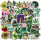 "TRENDY STICKERS: There are 50 cute and no repeat WEED stickers, Marijuana Stickers, Funny Weed Pot Leaf Decals as described in the pictures. You like Smoking Weed you will enjoy ""Happy 420 Stickers"". Alcohol kills, Weed Chills. Size: 2.4-3.2 inch. VI..."