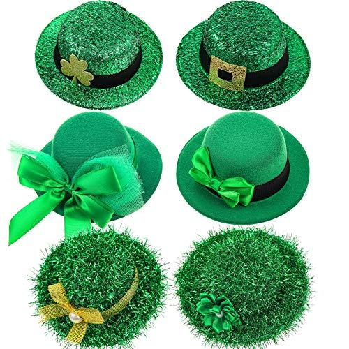 6 Pièces Chapeaux de Fête de Saint-Patrick Épingles à Cheveux Mini-Pinces à Cheveux de Chapeau de Lutin Accessoires Vert Irlandais pour Femmes Filles, Décorations de Saint-Patrick