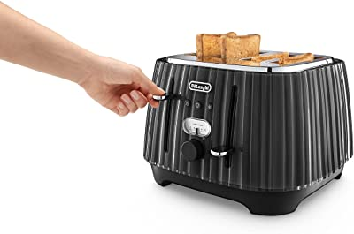 De'Longhi Ballerina Toaster, 4 Slot Toaster, Reheat, 5 Browning Settings, Defrost and Cancel Functions, Pull Crumb Tray, CTD4003.BK, 1800W, Black