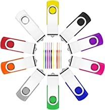 10 unidades de memoria USB de 2 GB, memoria USB 2.0 de Fesaymi multicolor, rotación de 360°, memoria de alta velocidad, co...