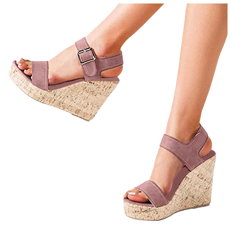 Padaleks Women's Wedge Sandals with Buckle Casual Ladies Bohemia Platform Dress Shoes Open Toe High Heel Sandal