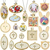 ZOCONE Mini Embroidery Hoop, Mini Wood Hoops, Round Oval Animal-Shaped Wood Hoops for DIY Pendant and Cross Stitch (10 Sets)
