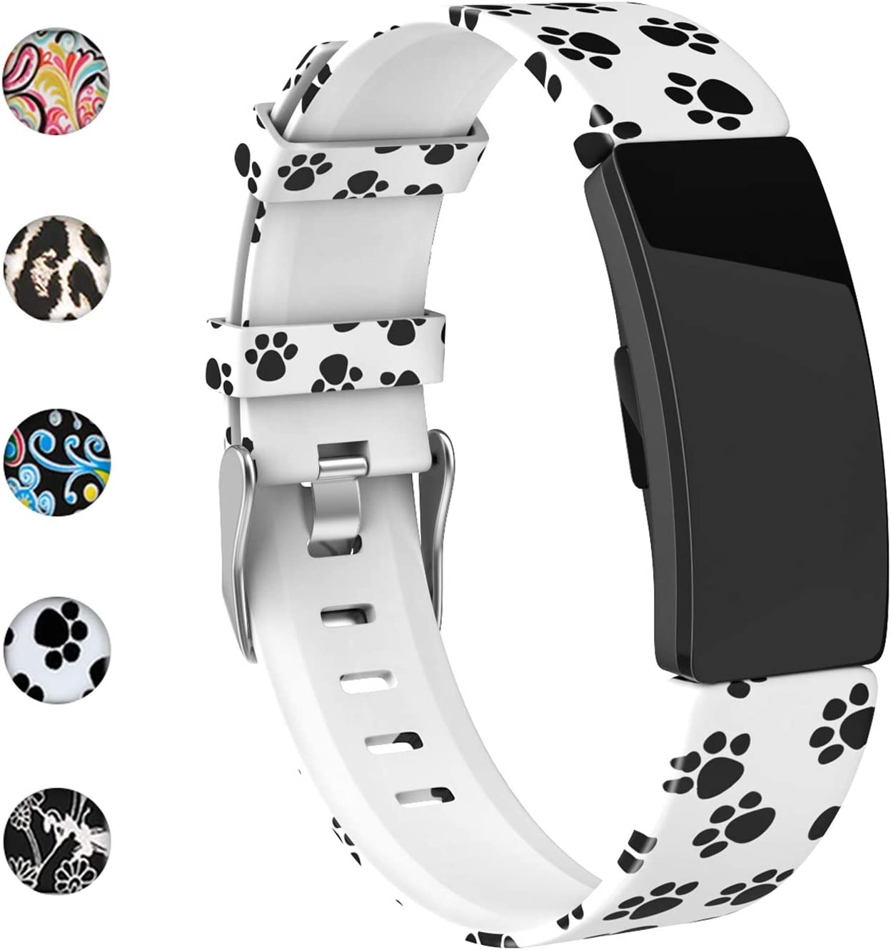 REYUIK Floral Bands Compatible with Fitbit Inspire HR/Inspire/Ace 2, Fadeless Pattern Printed Band Replacement Strap Accessories Wristband Large Small for Inspire HR Women Men…