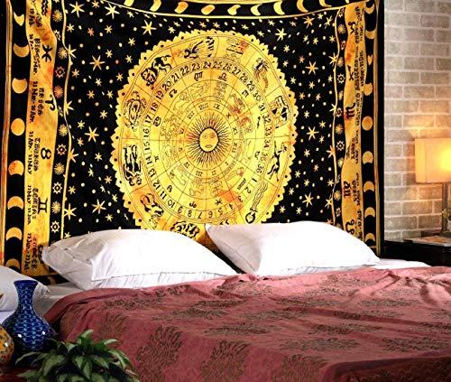 Majisacraft Wandbehang / Wandteppich, Motiv Sternzeichen Hippie, indische Astrologie, keltische, psychedelische Tapisserie, Queen Size 228,6 x 213,4 cm, Schwarz…