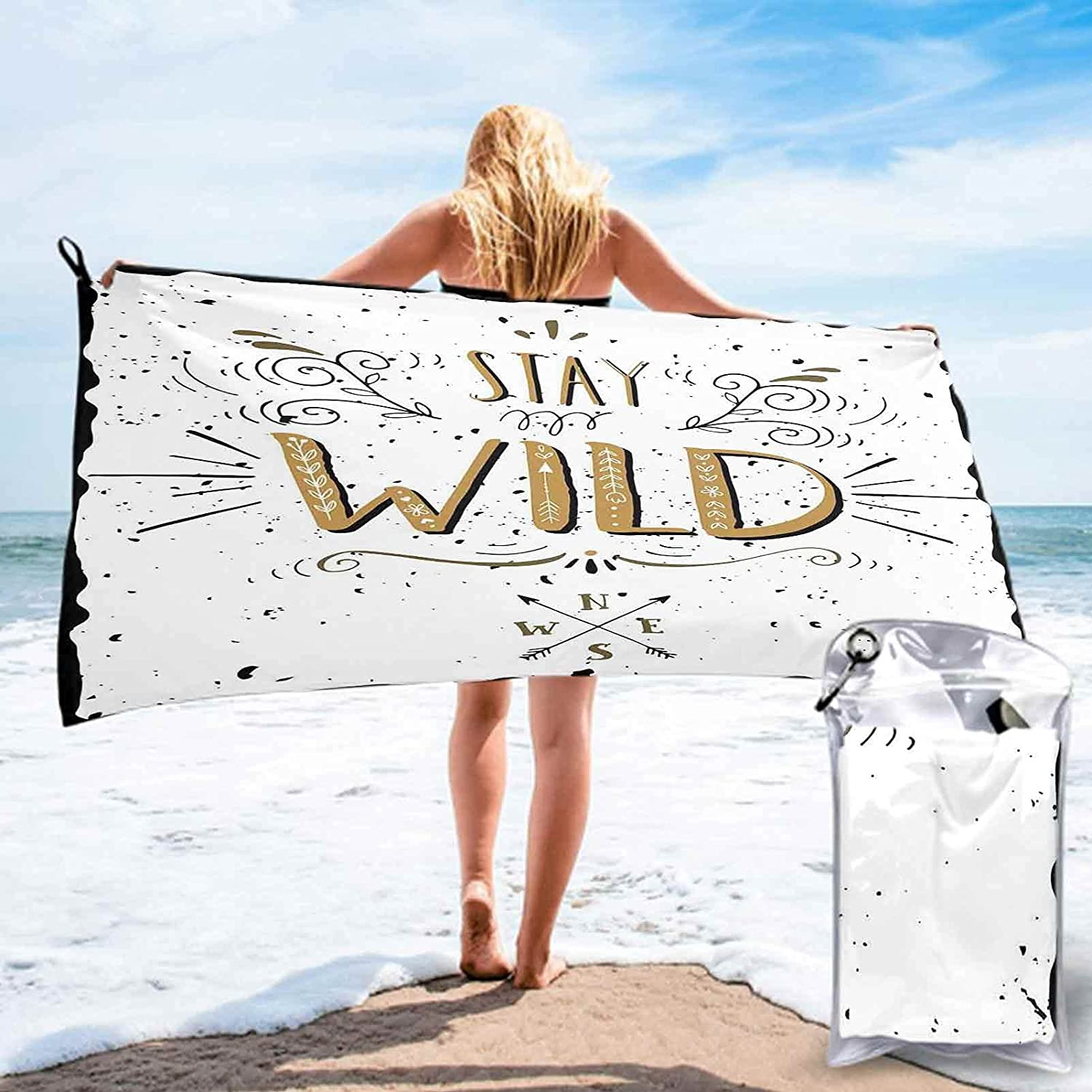 Quote Large Challenge the lowest price of Japan ☆ Bath Towels Quick-Dry Soft 2021 new Saying Wild Stay with Gr