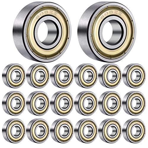 20 piezas de rodamientos de bolas 608zz Rodamientos rígidos de bolas en miniatura de metal con doble blindaje (8 * 22 * 7 mm) patines, scooters, rodamientos de juguete, rodamientos de bolas