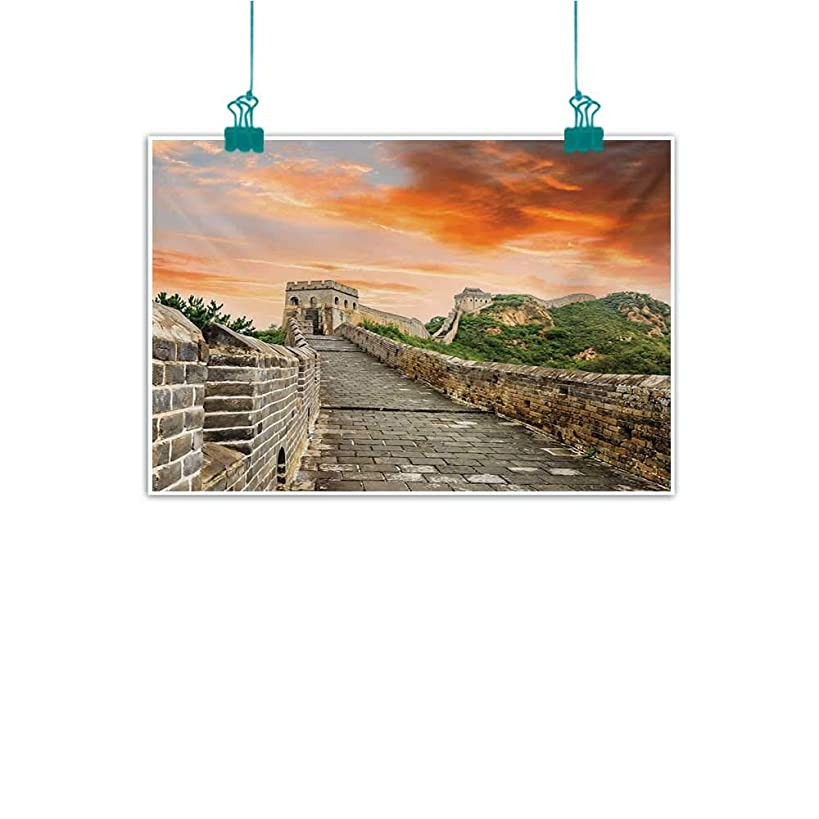 Mdxizc Frameless Decorative Painting Great Wall of China Hazy Scenic Sky Over Eastern Monument with Bricks Old Ruins Past Image Home and Everything W47 xL31 Grey Orange