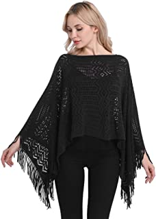 LvRao Stylish Knit Crochet V Neck Poncho Cape with Tassels for Women Cover-Ups Pullover Tops for Spring Autumn