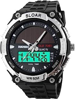 SKMEI Fashion Solar Power Dual Time Sports Military Watch Waterproof Wristwatch for Men and Women