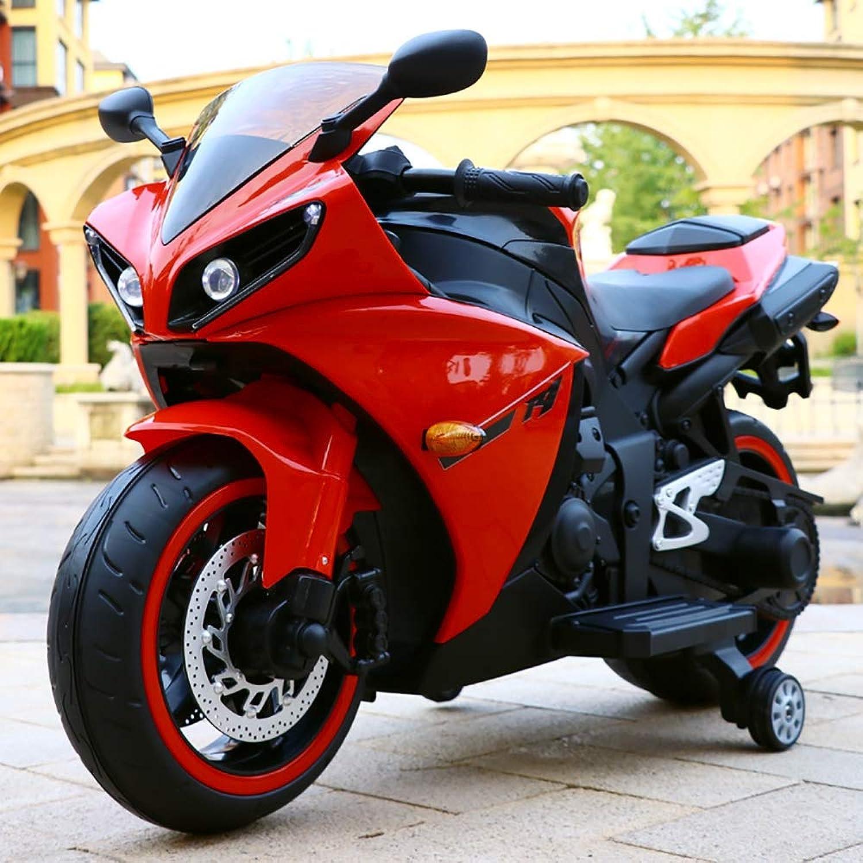 BP&S Motocicletta elettrica per Bambini, Motocicletta elettrica per Bambini di Grei Dimensioni 3-7 Anni Riautoica per Auto Giocattolo I Bambini Possono Sedere su Una Motocicletta a Due Ruote,Rosso