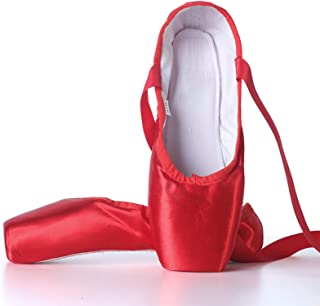 Meisjes Dames Dansschoen Ballet Pointe Slippers Ballet Flats Schoenen met Linten Teen Pads,Red,31