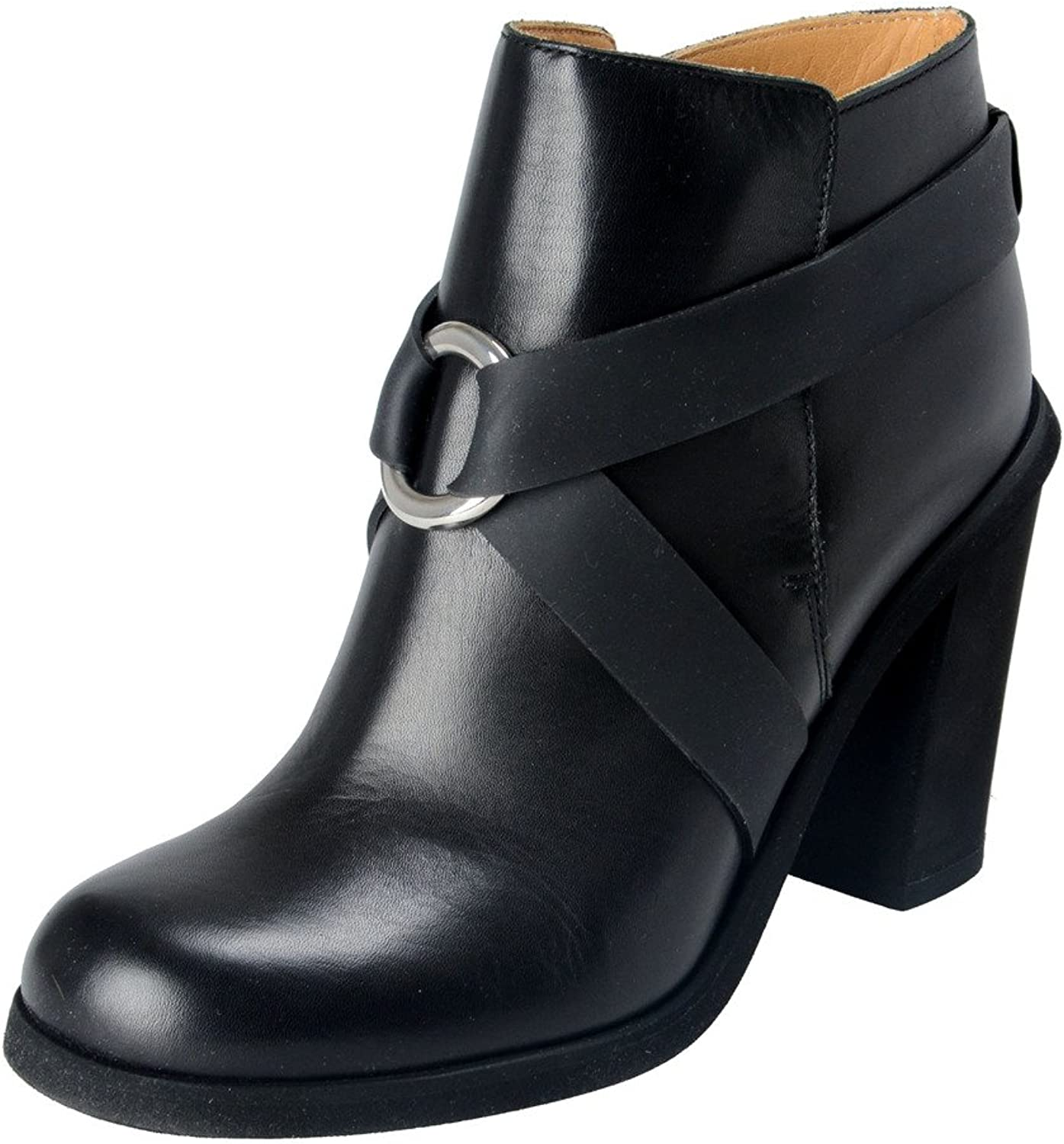 MAISON MARGIELA MM6 Women's Black Leather Heeled Ankle Boots shoes