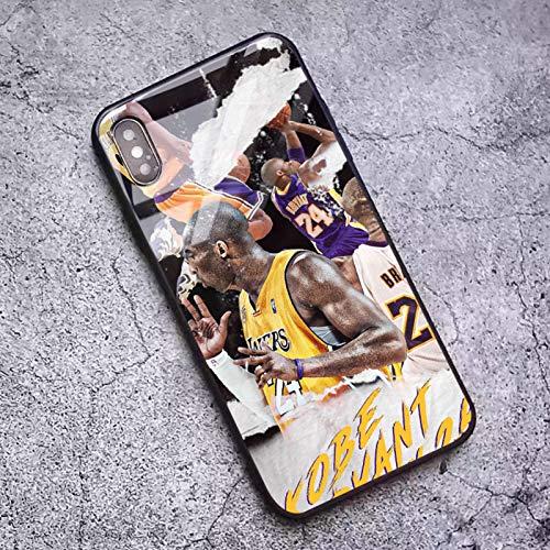 XMYP Funda telefónica para 12/12 Mini / 12 Pro / 12 Pro MAX, 2020 Estuches de Vidrio templados Anti-Dactilares para los fanáticos del Baloncesto, diseño de Kobe patrón de J- 12 Pro MAX