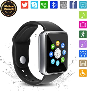 Bluetooth Smart Watch - WJPILIS Touch Screen Smartwatch Smart Wrist Watch Phone Fitness Tracker SIM TF Card Slot Camera Pedometer iOS iPhone Android Samsung LG Kids Women Men (Silver)