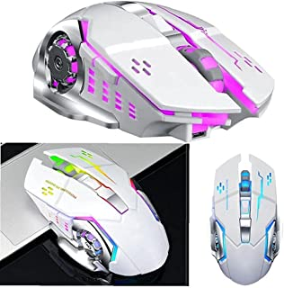 Wireless Gaming Mouse Q13, Rechargeable, Silent Backlit USB Optical Computer Mouse for Gaming PC Tablet Laptop (Pearl white)