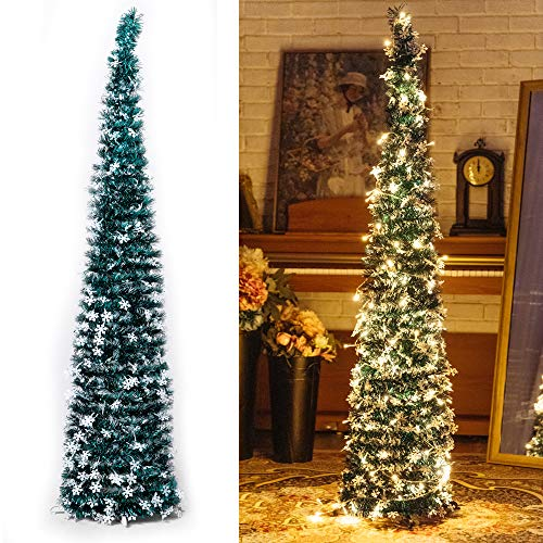 Pop-Up Artificial Christmas Tree with 100LED Lights ,Collapsible Pencil Christmas Trees for Holiday Carnival Party Christmas Decorations (Green)