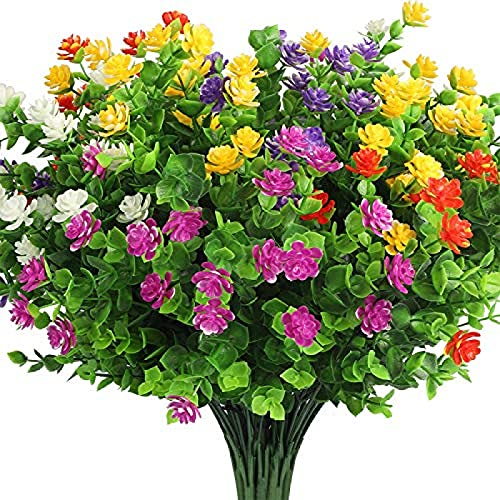 Yyhmkb 10 Bundles Fake Flowers For Decoration, 5 Colors Uv Resistant Artificial Flowers Outdoor Indoor, Faux Plastic Bouquet Greenery Shrubs Plants