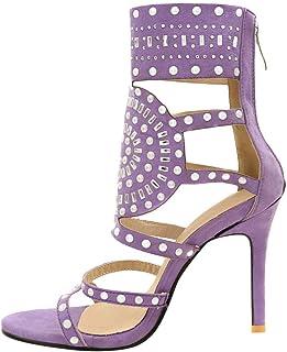 e966a25fbd2ea7 Solike Femmes Escarpins Sexy Talon Haut Aiguille Sandales en Strass PU  Casual Chaussures à Printemps Été