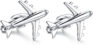 HONEY BEAR Airplane Aircraft Plane Plain Cufflinks for Mens Shirt,Stainless Steel for Business Wedding Gift with Box