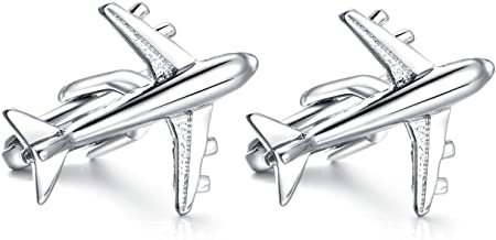 HONEY BEAR aereo gemelli camicia uomo argento,airplane aircraft Acciaio inossidabile per regalo di nozze affari