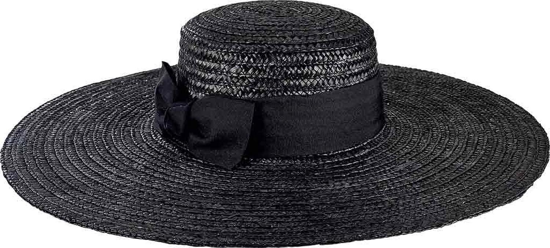 San Diego Hat Company Women's Wheat Straw Wide Brim Boater Hat WSH1109 Black Size One Size (21)