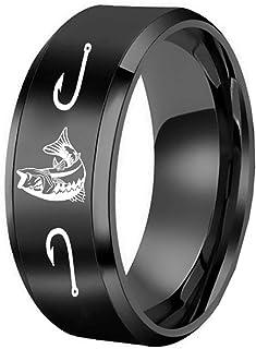 Castal Jewelry 8MM Men`s Outdoor Hunting Titanium Steel Ring Laser Prairie Deer Family Antler Scene Ring