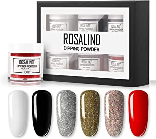 BDSONG Dipping Powder Nail Starter Kit 6 Colors, Dip Powder System Starter Nail Kit Dipping System for French Nail Manicure Nail Art Set Essential Kit