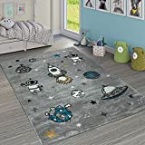Paco Home Alfombra Infantil Adorable Cohete Espacio Tierra Astronauta Estrellas Luna Gris, tamaño:120x170 cm