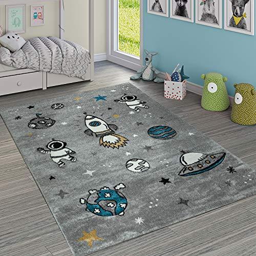 Paco Home Kinderteppich Jungen Mädchen Grau Kinderzimmer Kurflor Weltall Astronaut, Grösse:140x200 cm