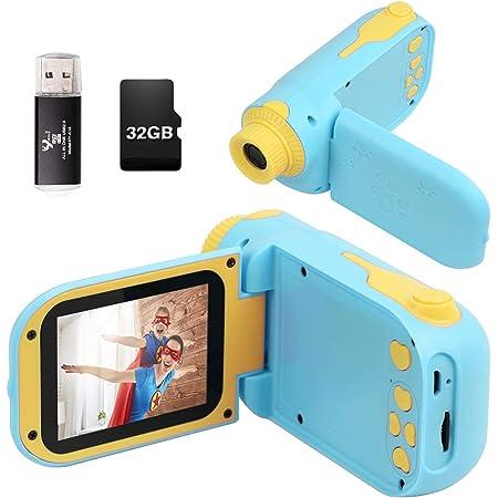 Fotocamera per Bambini, Videocamera per Bambini con Scheda di Memoria 32G Schermo 1080P HD da 2,4 Pollici, Fotocamera Giocattolo Come Regalo di Compleanno per 2-7 Anni Ragazzi Ragazze