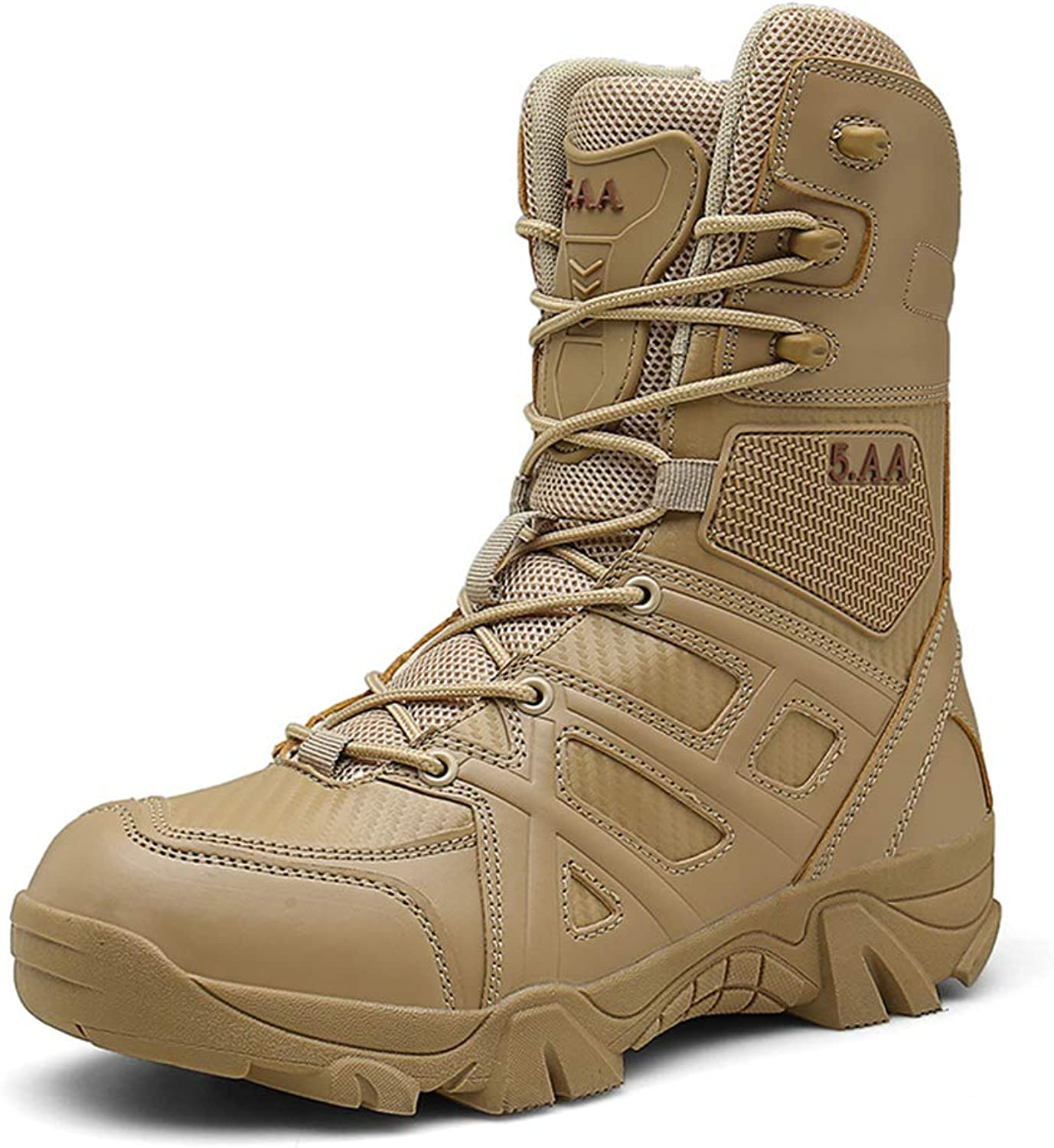 Suetar Men's mid-top Military Hiking and Trekking Boots Autumn and Winter Waterproof Non-Slip Tactical Boots for Men Fashion Combat Boots