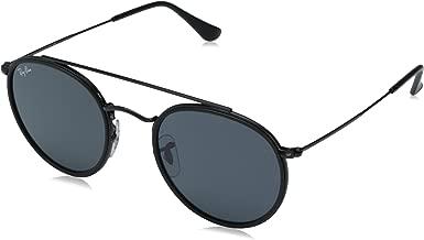 RAY-BAN RB3647N Round Double Bridge Sunglasses, Black/Grey, 51 mm