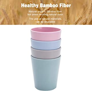4pcs Bamboo Kids Cups (10 fl oz) for Baby Feeding, Non Toxic & Safe Toddler Cups for Drinking, Eco-Friendly Tableware for Baby Toddler Kids Bamboo Kids Dinnerware Sets