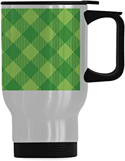 Irish Simple Travel Mug,Retro Pattern in Vivid Green Cultural Fashionable Checkered Traditional Tile for Home,14OZ