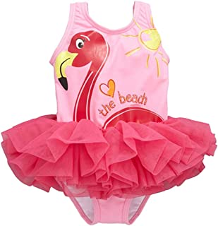 Dragon Honor Toddler Girls' One-Piece Swimsuit Flamingo Print Tutu Skirt Swimwear Bathing Suit