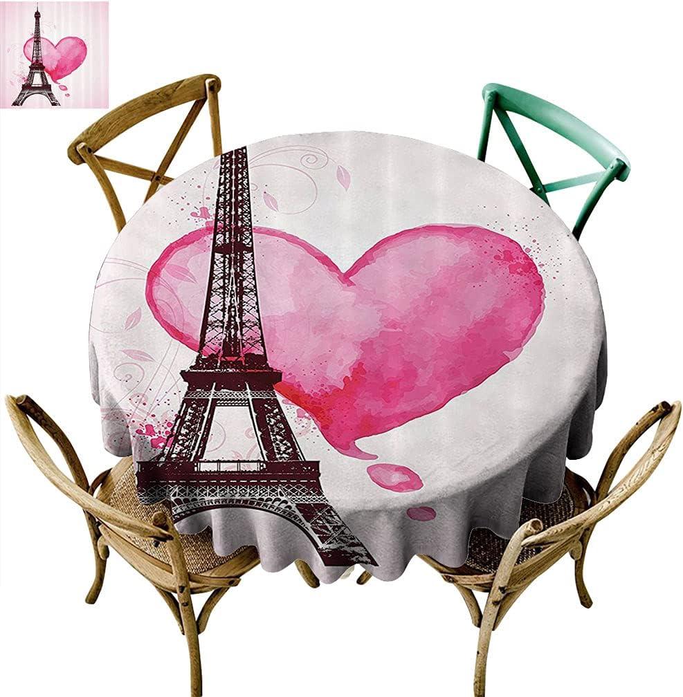 Sunxdeco Eiffel Arlington Mall Tower Decor Luxury goods Round R Easy-Care Tablecloth