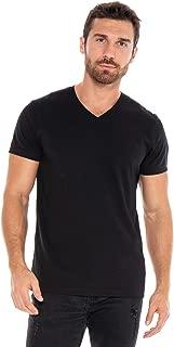 Men's Designer T-Shirt Lightweight Semi Fit Short Sleeve V-Neck Organic Cotton Pre-Shrunk Embroidered - Made in USA