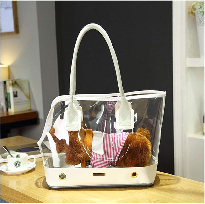 MCLD Pet Handbag, Portable Dualuse Dog And Cat Outdoor Hard PVC Shoulder Bag Foldable Travel Cushion Carrier (color   Transparent white, Size   32  61  23  43CM)