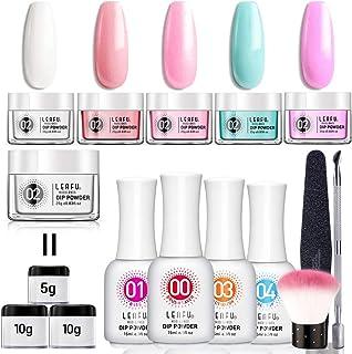 Dipping Powder Nail Starter Kit 5 Colors 0.83oz Dip Powder Easy Dip powder kit Nail Dipping Powder French Nail Manicure Nail art set No UV/LED