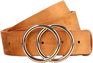 New Belt Women Belts for Women's Jeans Fashion Gold Buckle Waist Leather Strap Designer Strap Belt Very Strong and Durable (Color : Khaki, Size : 100cm)