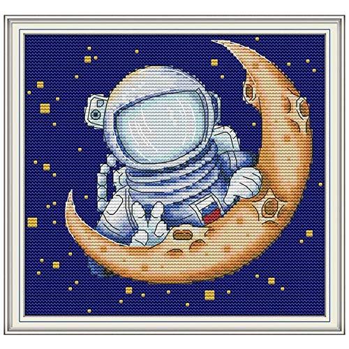 Kits de punto de cruz para adultos para principiantes, dibujos animados de aterrizaje en la luna contados impresos en el lienzo, 11 ct, 14 ct, kit de bricolaje, bordado de punto de cruz, juegos de cos
