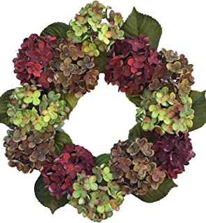 Wreaths For Door Autumn in New England Summer and Fall Hydrangea Wreath for Front Door or Year Round Indoor Home Decor Hydrangeas in Burgundy Green and Taupe