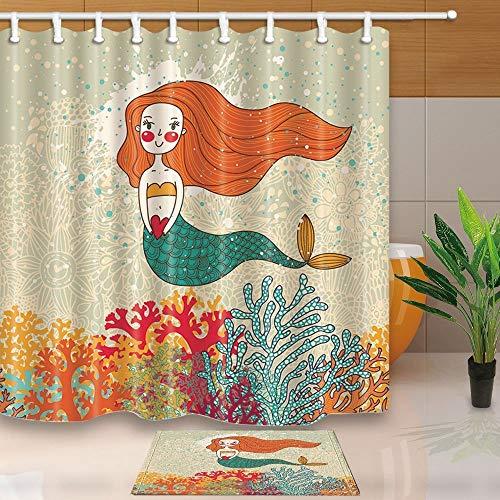 mintlmk leuke zeemeermin in koralen voor kinderen cadeau 71X71in polyester stof douchegordijn pak met 15.7x23.6in flanel antislip vloer deurmat bad tapijten
