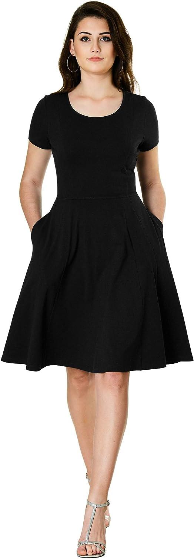 eShakti FX Cotton Knit fit and Flare Dress - Customizable Neckline, Sleeve & Length