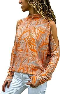 Long Sleeve Tops for Women,Sale💖Women Fashion Cold Shoulder Blouse Geometric Floral Print Jumper Ladies Top