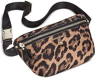Michael Kors Woman's Leopard Animal Print Nylon & Saffiano Leather Trimmed Waist Bag, Belt Bag, Fanny Pack, Hip Bag, Bum Bag