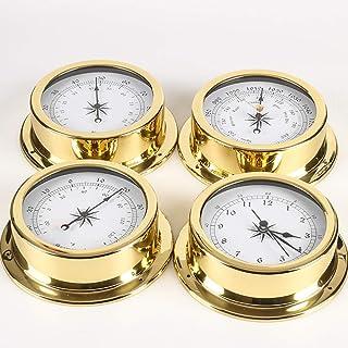 Set Brass Case Traditional Weather Station Barometer Temperature Hygrometer and Tide Clock 145mm Large Size 4pcs