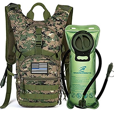 SHARKMOUTH Tactical MOLLE Hydration Pack Backpack 900D with 2L Leak-Proof Water Bladder, Keep Liquids Cool for Up to 4 Hours, Outdoor Daypack for Cycling, Hiking, Running, Climbing, Hunting